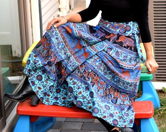 Wrap around skirt, Wrap skirt,Long Elephant Printed Wrap Skirt,Handmade,Indian Ethnic,Free size warp skirt,Hippie Skirt, Blue wrap skirt