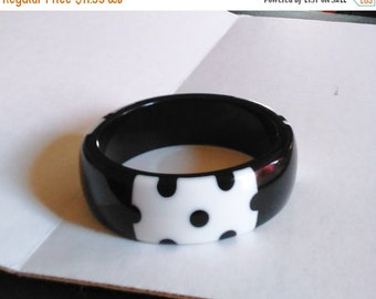 Mothers Day SALE Polka Dot Plastic Bangle White Black Bracelet for larger wrist nice and thick