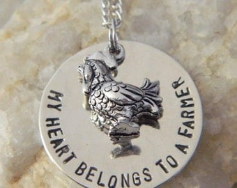 My Heart Belongs to a Farmer Handstamped Necklace with Rooster
