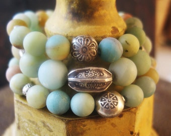 Amazonite Stacking Bracelet, Amazonite Stretch Bracelet, Boho Chic, Gemstone Bracelet