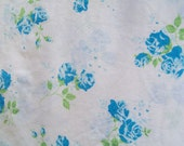 Vintage Shabby Blue Roses on White Cotton Percale Full Flat Sheet