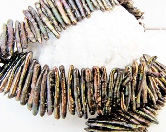Fresh Water Shell Stick Spike Beads Double Drilled Pendant Jewelry Gemstone Beads Bead Supply 10 Stick Pearls