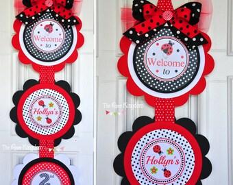 Ladybug Door Sign, XL Door Hanger, Ladybug Birthday Party