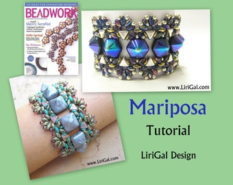 Tutorial Mariposa SuperDuo and Hex Pyramid beads  Beadwork Bracelet PDF