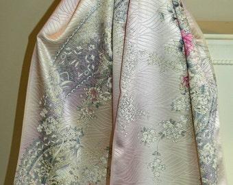 Handmade Silk Kimono Peacock Fabric Wrap/Shawl/Shrug.Rose.Cherry Blossom Peony Bouquet.Long Island Wedding/Bride/Aqua Lavendar/Clutch/Purse