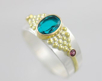 Byzantine Ring II in Sterling Silver and 14ky Gold with Paraiba Crystal Quartz Doublet and Rhodolite Garnet