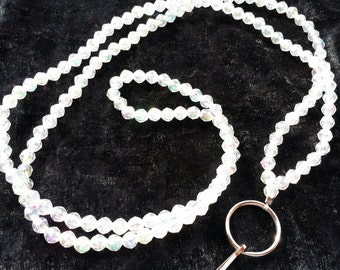 Clear Faceted Beaded Lanyard or Badge Holder