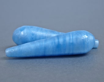 Spun Glass Blue Opaque Vintage Czech Drilled Long Teardrop Bead 1.5 Inches 40x10cm