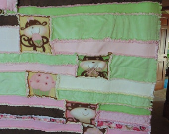 Childs Monkeys and Cupcakes Fleece and Minky Rag Quilt