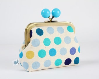 Metal frame coin purse with color bobble - Little dots in blue tones - Color dad / Japanese fabric / Geometric / Turquoise cobalt yellow