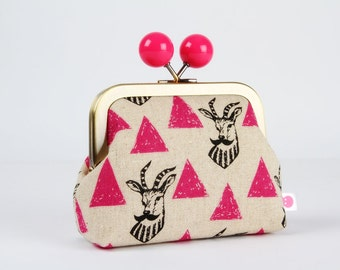 Metal frame coin purse with color bobble - Impala in pink - Color dad / Echino / black antalope moustache / boho / fuchsia triangles