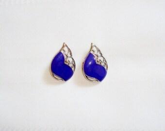 Beautiful Purple Enamel & Silver Tone Wing Clip Earrings