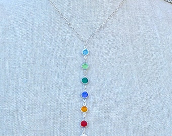 Birthstone Necklace - Birthstone Jewelry - Mother's Necklace - Grandma Gift - Mother's Day Gift - Lariat Birthstone Necklace