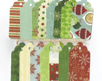 Clearance Sale  - Assorted Christmas Large Scallop Die Cut Gift Hang Tags (Set of 15) (C49)