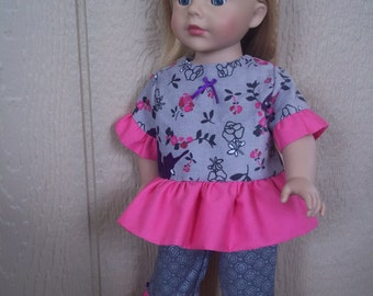 "Bed of Roses capris set for any 18"" doll"