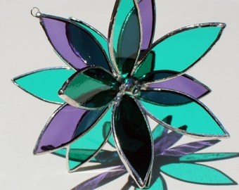 Purple and Teal Stained Glass 3D Flower -Suncatcher - In Full Bloom