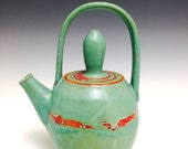 Ceramic Teapot: Red and Turquoise