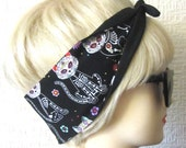 Sugar Skull Cat Hair Tie Day of The Dead Flowers in Black , Rockabilly Head Scarf by Dolly Cool Kitty