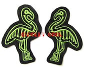 Skeleton Flamingo patch sew on Pair in Lime by Dolly Cool