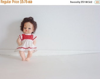 SALE // Vintage Doll with Red and White Polka Dot Dress