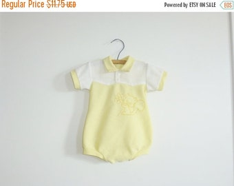 SALE // Vintage Yellow and White Baby Romper