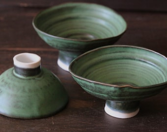 Hand Built footed,  thin porcelain green bowl