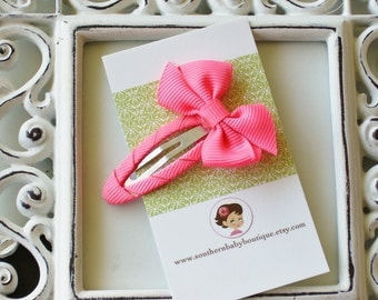 New Item----Simple Hair Bow Snap Clip----Neon Pink----Ready to Ship----
