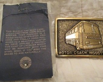 Vintage Brass Buckle Motor Coach Industries Crusader SALE