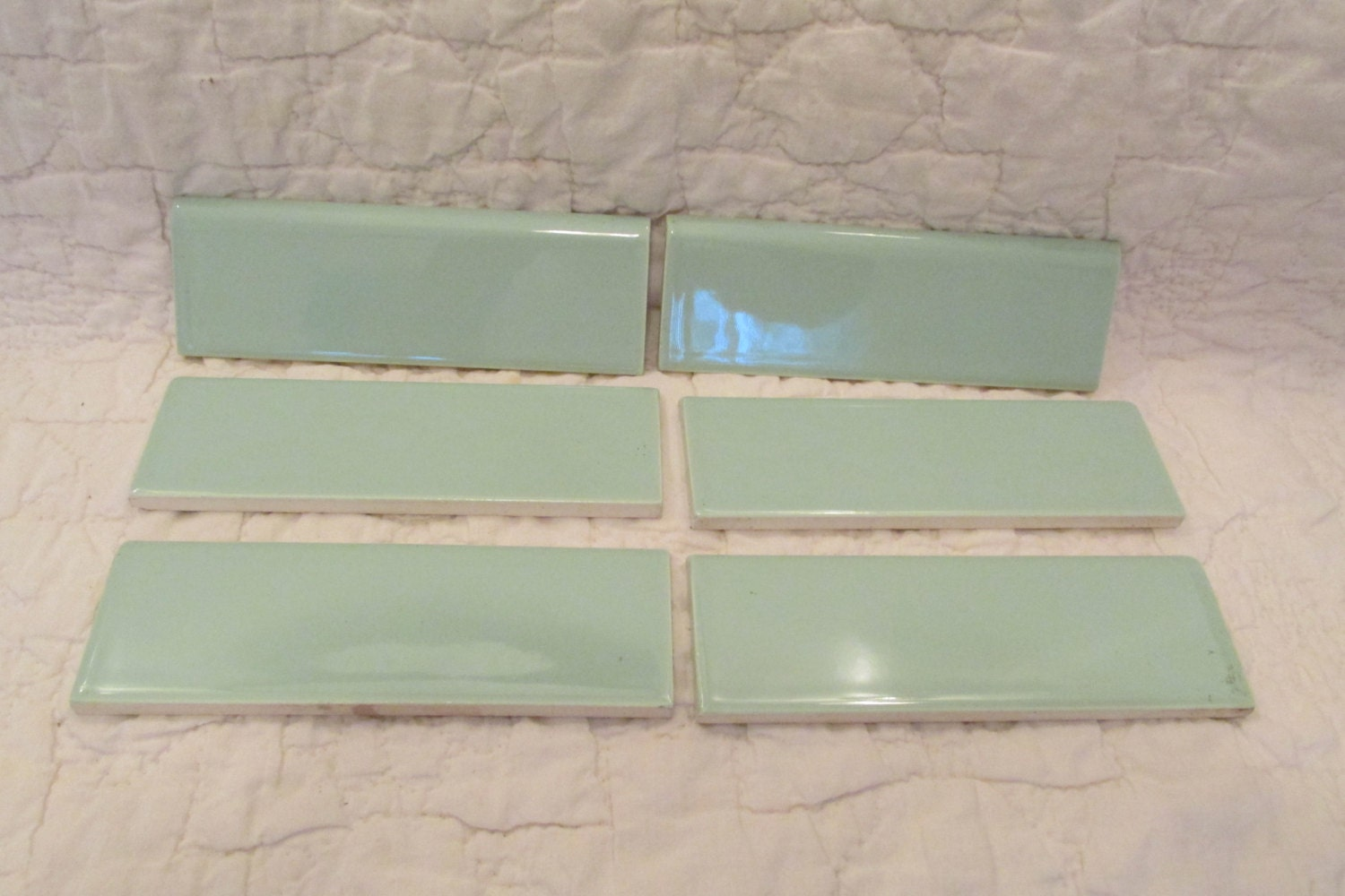 Tile Light Green Ceramic Lot Of 6 Bull Nose Tile Or Top Edge