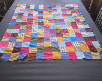 Vintage Vibrant Simple Quilt Top for Repair or Assemblage