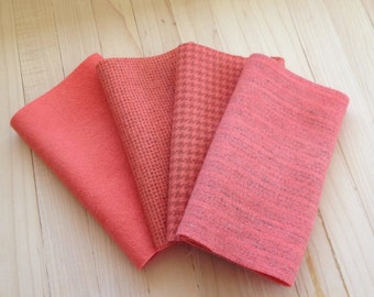"Hand Dyed Wool Felt, SALMON, Four 6.5"" x 16"" pieces in Fruity Coral, Perfect for Rug Hooking, Applique' and Crafting"