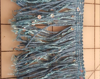 Country Blue Fringe with small AB sequins just over 2yd