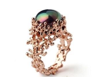SALE 20% OFF - CORAL Black Pearl Ring, Black Pearl Engagement Ring,  Rose Gold Engagement Ring, Rose Gold Pearl Ring, Rose Gold Ring