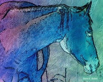 Horse Art, Blue Purple Aqua, Southwestern Equine, Textured Decorative Wall Hanging, Home Decor, Monochromatic Digital, Giclee Print, 8 x 10