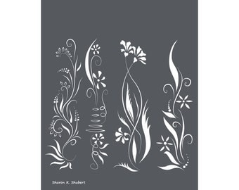 Modern Stylized Wildflowers Art, Flower Garden, Gray White, Elegant Wall Hanging, Digital Vector, Botanical Home Decor, 8 x 10, Giclee Print
