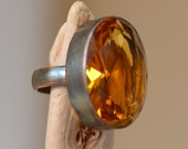 Citrine Silver Ring. Oxidized Sterling Silver. Yellow Gemstone Cocktail Ring. Metalsmith. Fine Jewelry. Size 8. November Birthstone