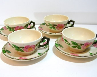 Franciscan Pink Dogwood Cups And Saucers, Set Of Four