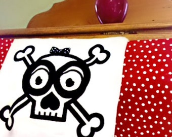 Skull and Crossbones, Tea Towel, cotton linens, kitchen and bath, guest towels