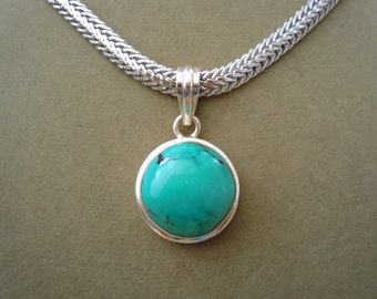 Turquoise Pendant on Silver Filled Silver Snake Chain -- Perfect Pendant Collection