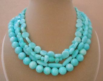 Danube -- Natural Peruvian Blue Amazonite Multi-Strand Necklace