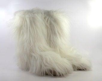 Fur Leather Boots Vintage 1990s Faux Yeti Mukluk Donald J Pliner Apres Ski Women's size 10
