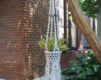 White Macrame plant hanger Inca