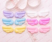 Kawaii Cabochon - Glittery Wings Flat Back Resin Cabochon - Set of 12 pieces (6 pairs)