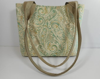 Tote Bag Purse Shoulder Bag Medium-Sized Printed Burlap Paisley Green and Gold Double Straps Pockets
