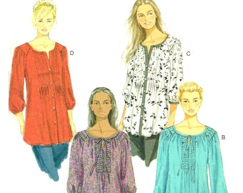Loose Fitting Peasant Tunic Top Tuck Band Butterick 5861 Sewing Pattern Size 8 10 12 14 16 18w 20w 22w 24w Bust 32.5 34 36 38 40 42 44 46