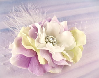 Wedding - Light purple light green bridesmaid hair clip flower girl hair clip jade green flowergirl mint green lavender purple feather clip