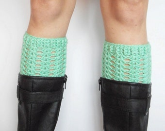 Textured Crochet Boot Cuffs in Mint, ready to ship.