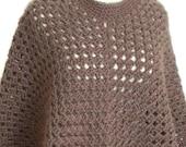 Poncho Boho Style, Plus Size, Brown Cape, Women's Poncho