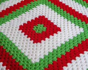 Christmas Afghan Crochet Red White Green Throw