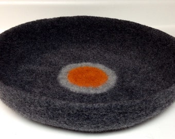 Modern Cat Bed Knit Crochet Wool Handmade Felted Pet Bed in Charcoal Gray with Orange and Light Gray Circles